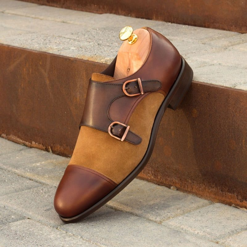 Custom Made Double Monks in Dark and Medium Brown Painted Calf with Camel Luxe Suede