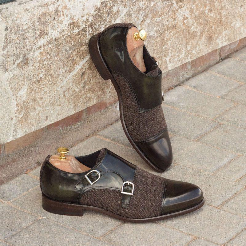 Custom Made Double Monks in Green Polished Calf Leather with Herringbone Wool