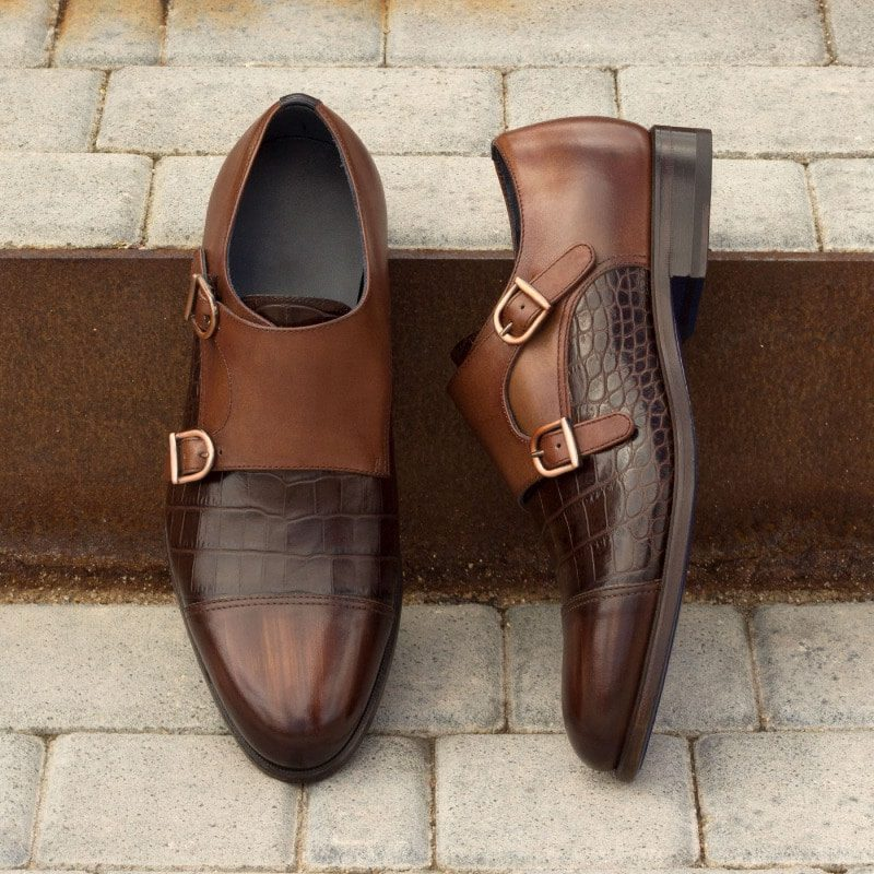 Custom Made Double Monks in Italian Raw Crust Leather with Brown Hand Patina with Navy Blue and Medium Brown Painted Calf and Brown Croco