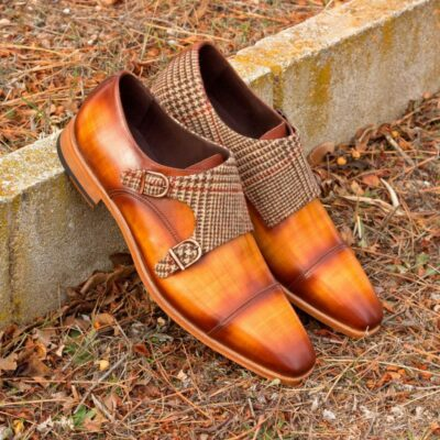 Custom Made Double Monks in Italian Raw Crust Leather with Cognac Papiro Hand Patina with Wool Tweed