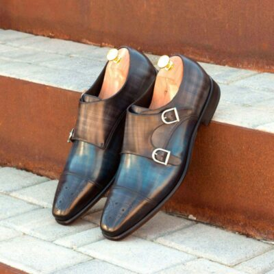 Custom Made Double Monks in Italian Raw Crust Leather with Denim Blue and Grey Papiro Hand Patina
