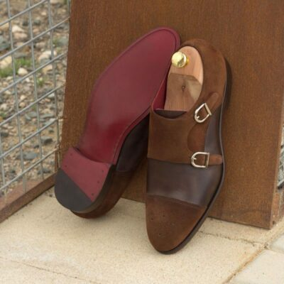 Custom Made Double Monks in Medium Brown Luxe Suede and Dark Brown Painted Calf Leather