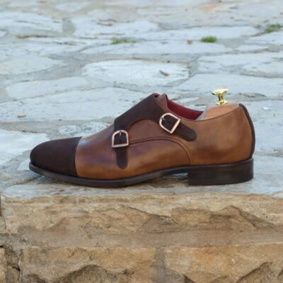 Custom Made Double Monks in Medium Brown Painted Calf and Brown Kid Suede