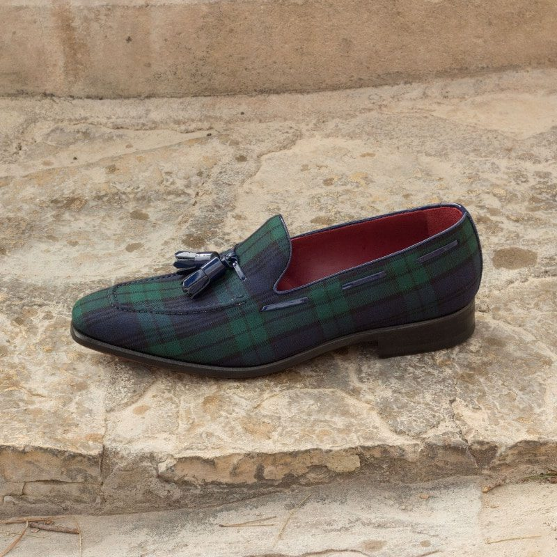 Custom Made Loafers in Blackwatch with Denim and Cobalt Blue Patent Leather