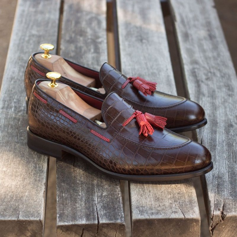 Custom Made Loafers in Brown Croco Embossed Calf Leather with Black Polished Calf and Red Pebble Grain