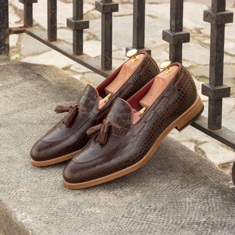 Custom Made Loafers in Brown Croco Embossed Calf with Burgundy, Cognac and Medium Brown Box Calf