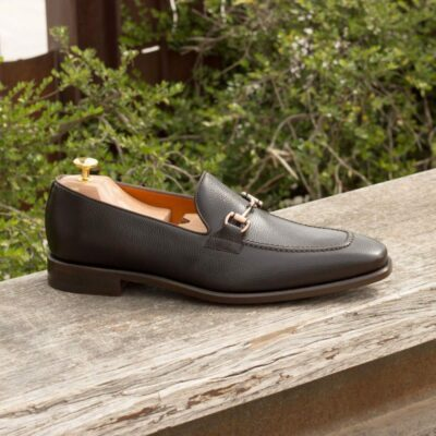 Custom Made Loafers in Dark Brown Painted Calf and Pebble Grain Leather