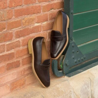 Custom Made Loafers in Dark Brown Pebble Grain and Medium Brown Painted Calf