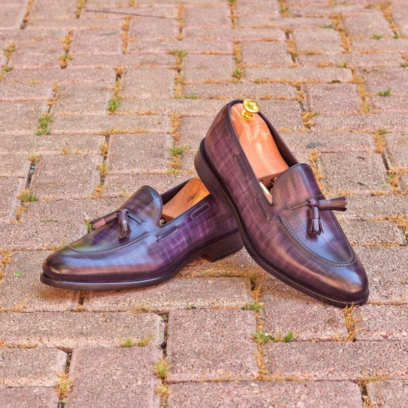 Custom Made Loafers in Italian Raw Crust Leather with Purple and Denim Papiro Hand Patina