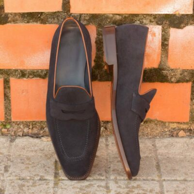Custom Made Loafers in Navy Blue Luxe Suede with Cognac Polished Calf