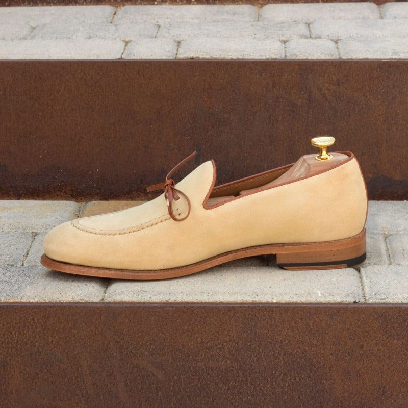 Custom Made Loafers in Sand Luxe Suede with Cognac Box Calf