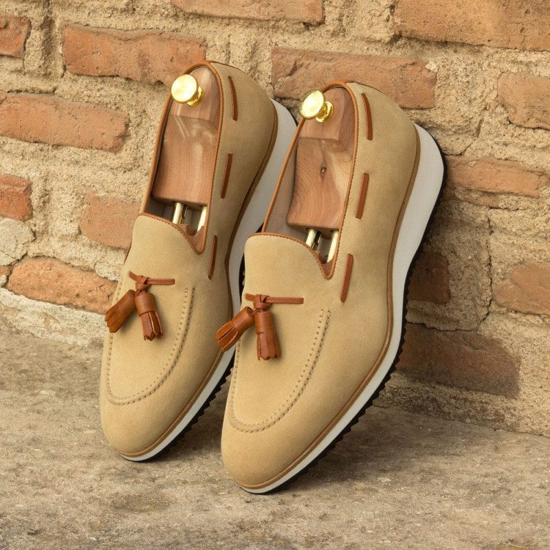 Custom Made Loafers in Sand Luxe Suede with Cognac Painted Calf