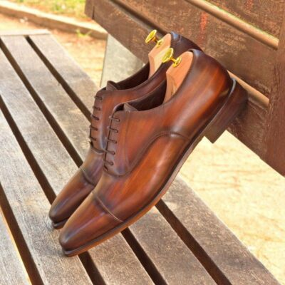 Custom Made Oxford in Brown Hand Patina on Italian Raw Crust Leather
