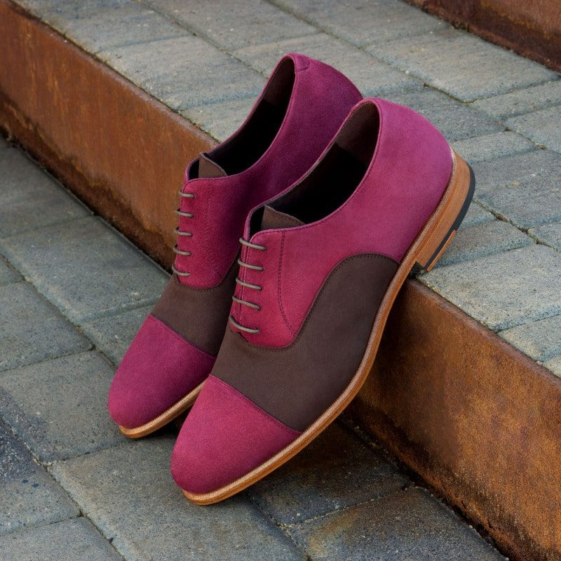 Custom Made Oxford in Brown and Wine Kid Suede