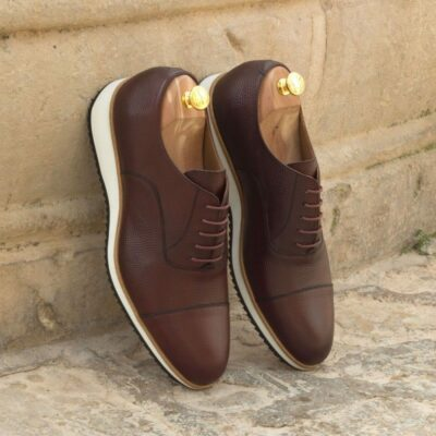 Custom Made Oxford in Burgundy Pebble Grain Leather