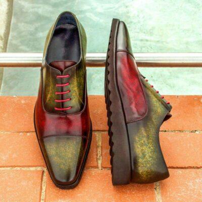 Custom Made Oxford in Burgundy and Khaki Marble Hand Patina on Italian Raw Crust Leather
