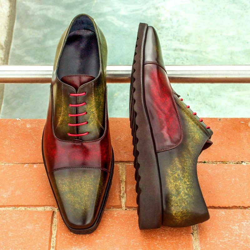 Custom Made Oxford in Burgundy and Khaki Marble Hand Patina on Italian Raw Crust Leather