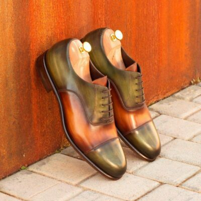 Custom Made Oxford in Cognac and Khaki Hand Patina on Italian Raw Crust Leather