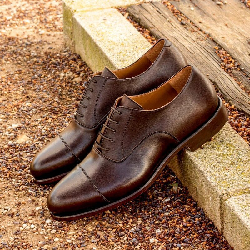 Custom Made Oxford in Dark Brown Painted Calf Leather