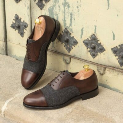 Custom Made Oxford in Dark Brown Painted Calf and Dark Grey Flannel