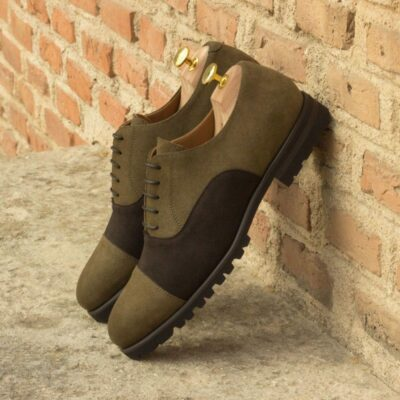 Custom Made Oxford in Dark Brown and Khaki Luxe Suede