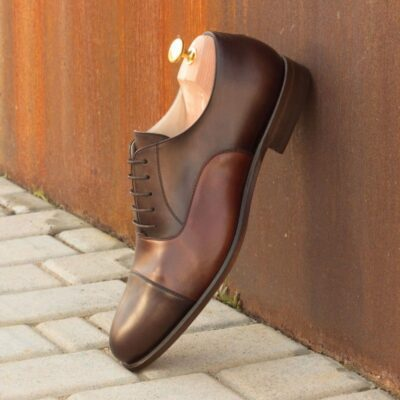 Custom Made Oxford in Medium and Dark Brown Painted Calf Leather