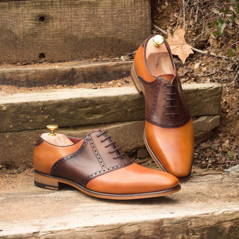 Custom Made Saddle Shoes in Cognac and Dark Brown Painted Calf Leather