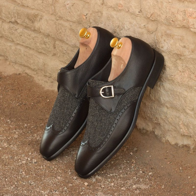 Custom Made Single Monks in Black Painted Full Grain Leather and Nailhead Wool with Nickel Buckle