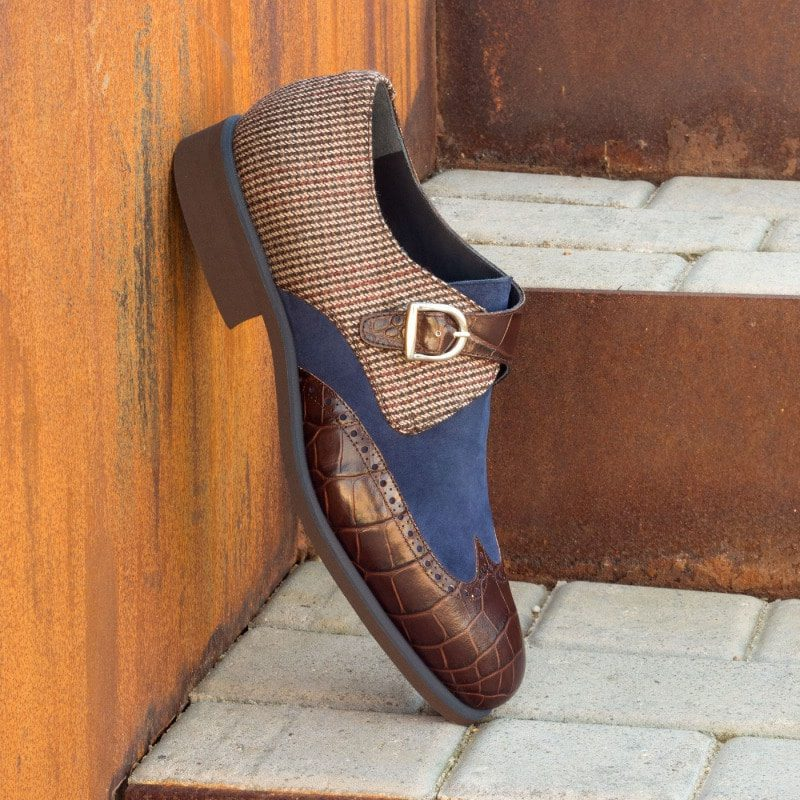 Custom Made Single Monks in Brown Croco Embossed Leather with Navy Blue Kid Suede and Wool Tweed