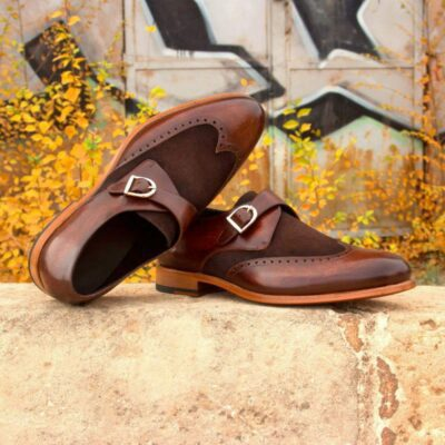 Custom Made Single Monks in Brown Marble Hand Patina and Dark Brown Luxe Suede