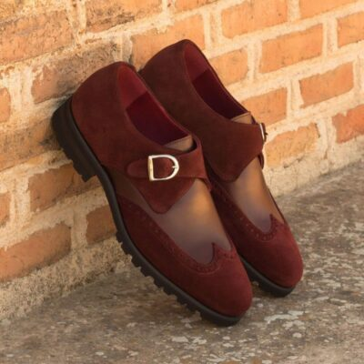 Custom Made Single Monks in Burgundy Luxe Suede and Polished Calf Leather with Nickel Buckle