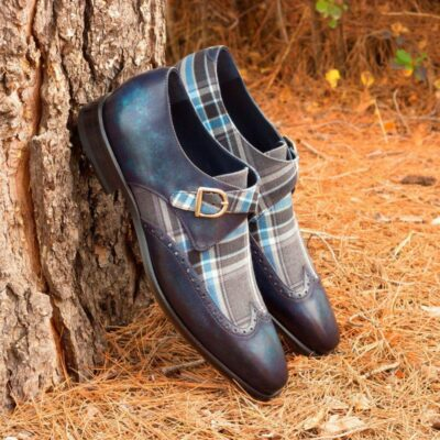 Custom Made Single Monks in Denim Blue Marble Hand Patina with Plaid Sartorial