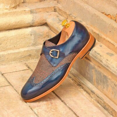 Custom Made Single Monks in Denim Blue Marble Hand Patina with Tweed