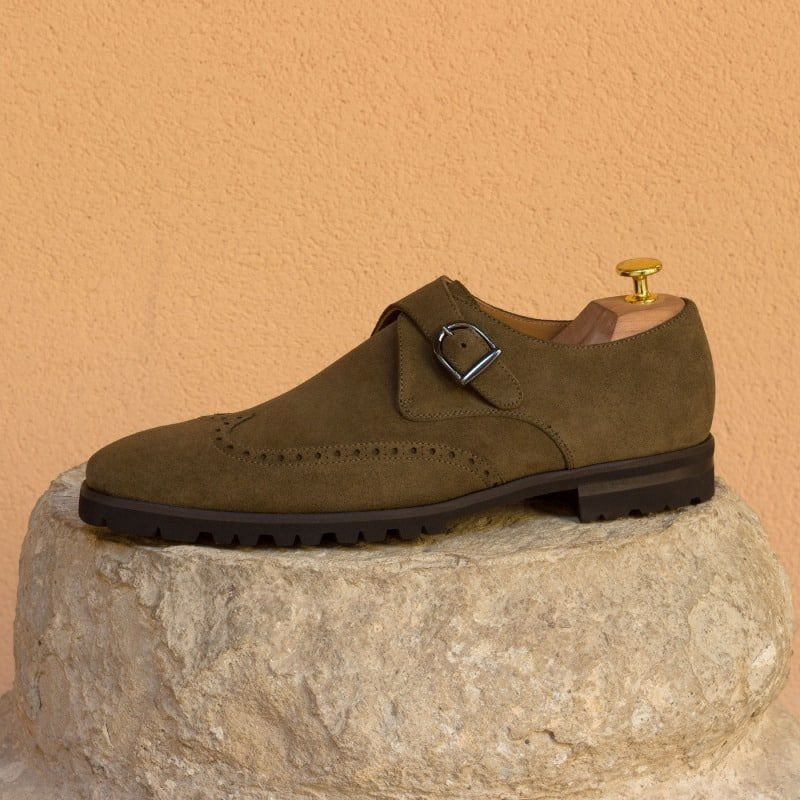 Custom Made Single Monks in Khaki Luxe Suede with Graphite Buckle