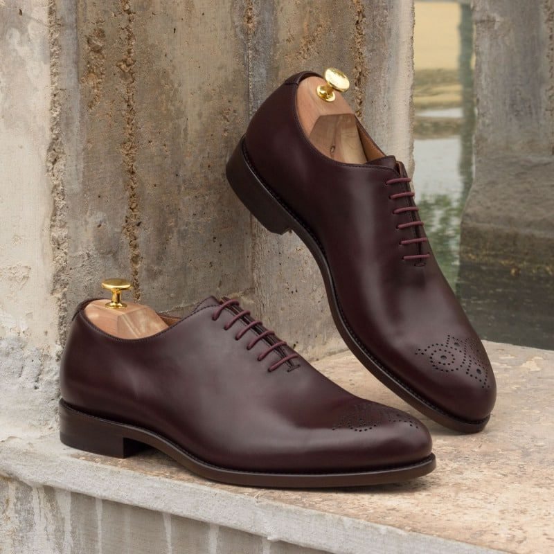 Custom Made Whole Cut Dress Shoes in Burgundy Polished Calf Leather
