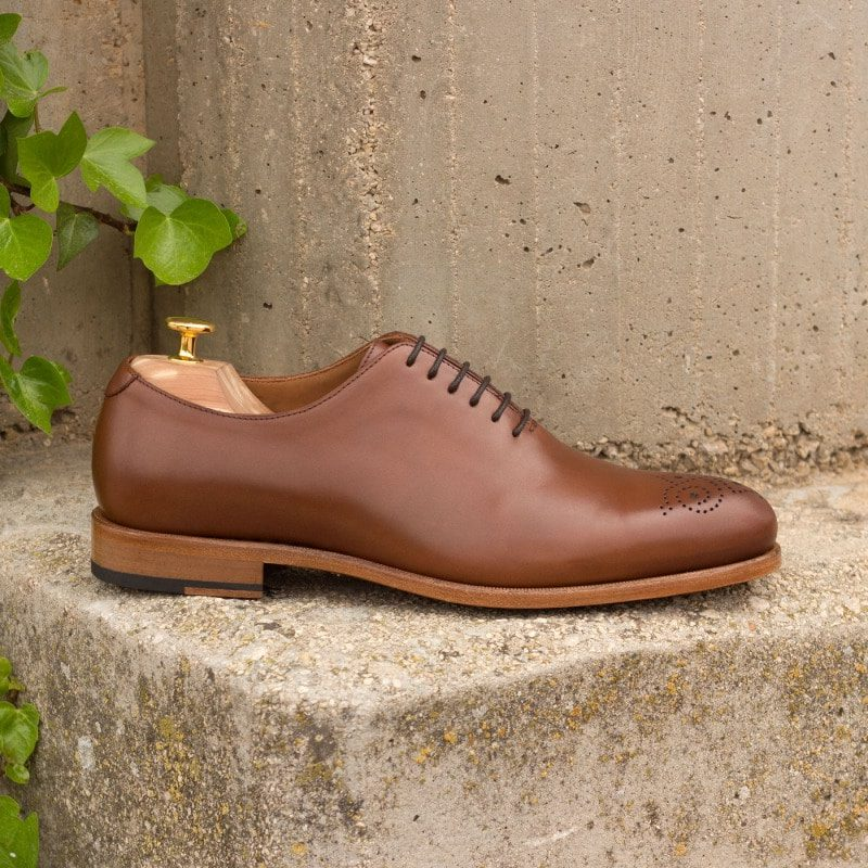 Custom Made Whole Cut Dress Shoes in Cognac Polished Calf Leather