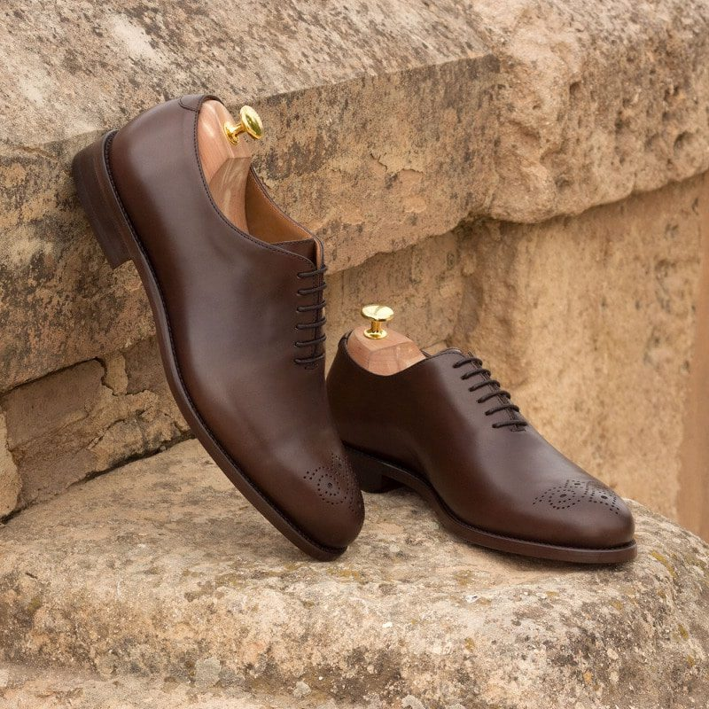 Custom Made Whole Cut Dress Shoes in Dark Brown Polished Calf Leather