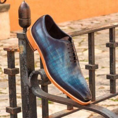 Custom Made Whole Cut Dress Shoes in Denim Blue Papiro Hand Patina on Raw Crust Italian Leather
