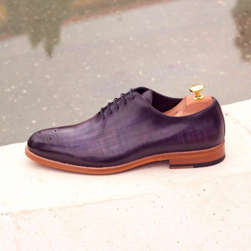 Custom Made Whole Cut Dress Shoes in Purple Papiro Hand Patina on Raw Crust Italian Leather
