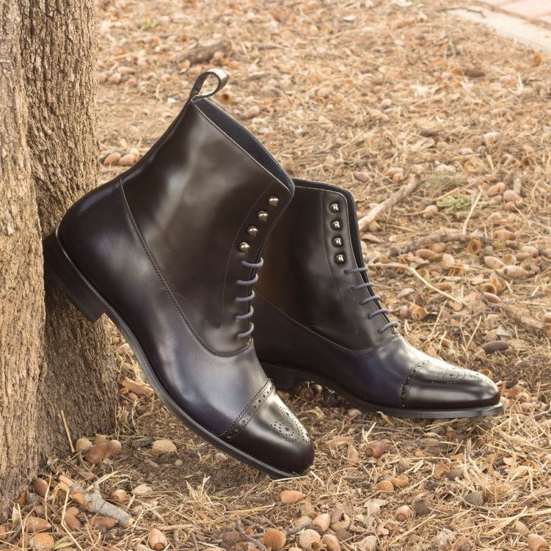 Custom Made Balmoral Boot Black Polished Calf and Navy Blue Painted Calf Leather