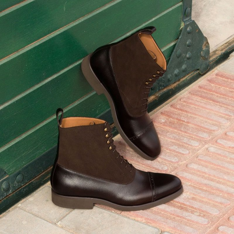 Custom Made Balmoral Boot in Dark Brown Luxe Suede, Painted Calf and Pebble Grain Leather