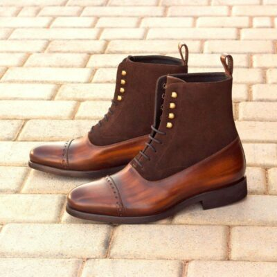 Custom Made Balmoral Boot in Italian Raw Crust Leather with a Brown Hand Patina and Dark Brown Luxe Suede