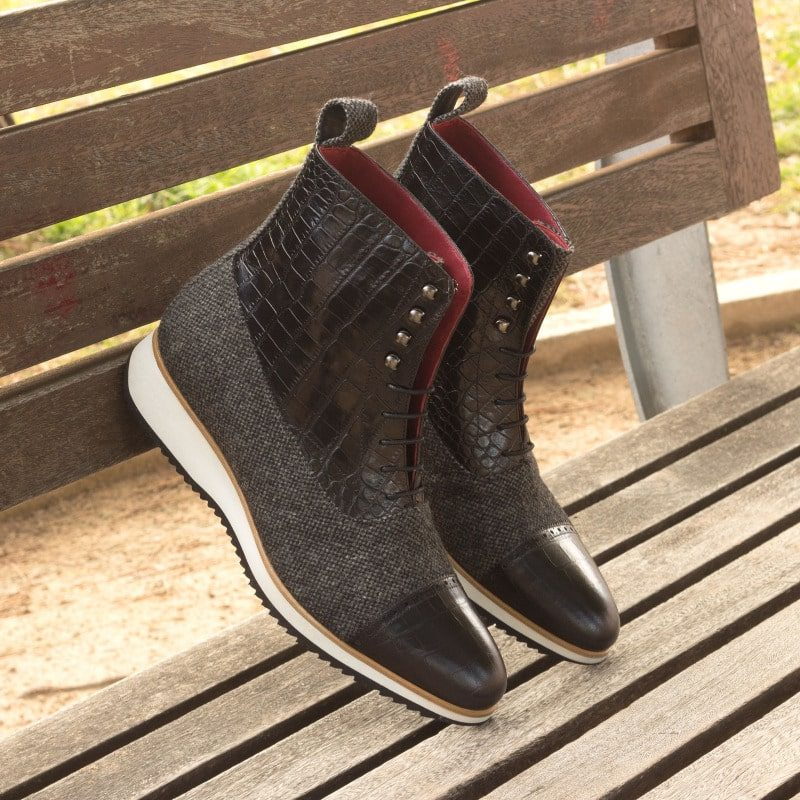 Custom Made Balmoral Boot in Nailhead Sartorial with Black Croco Embossed Calf Leather