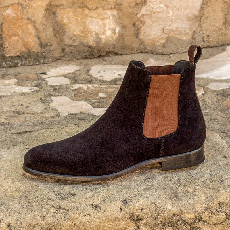 Custom Made Chelsea Boot Classic in Black Luxe Suede with Dark Brown Painted Full Grain Leather