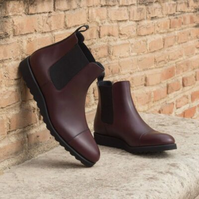 Custom Made Chelsea Boot Classic in Burgundy and Black Box Calf Leather