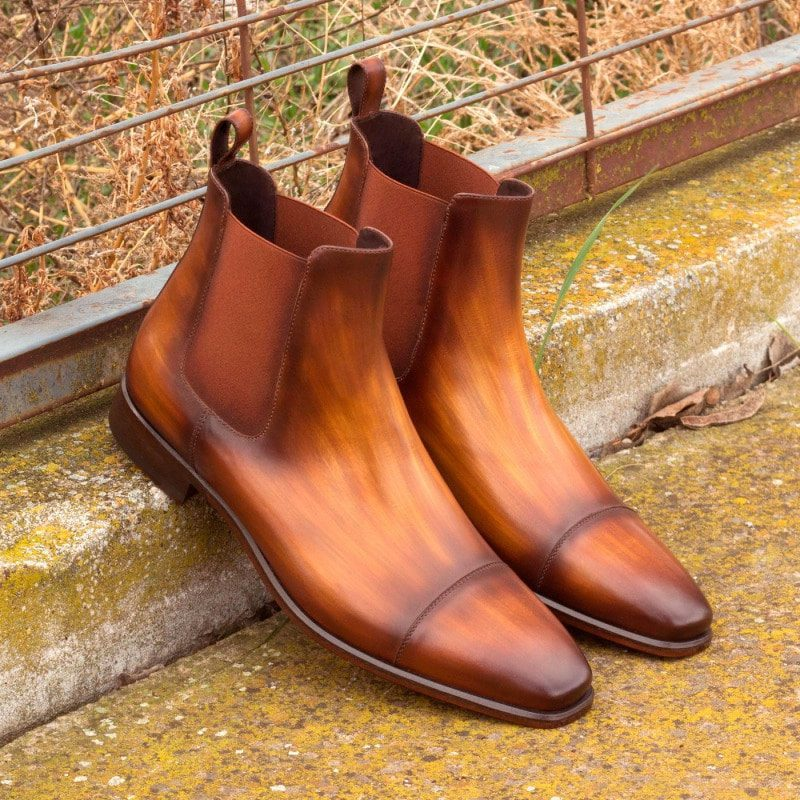 Custom Made Chelsea Boot Classic in Italian Raw Crust Leather with a Cognac Hand Patina 1
