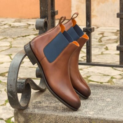 Custom Made Chelsea Boot Classic in Medium Brown Painted Calf Leather