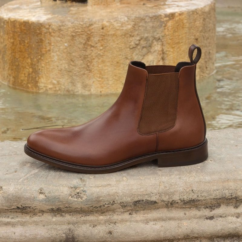Custom Made Chelsea Boot Classic in Medium and Dark Brown Painted Calf Leather