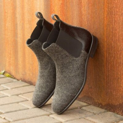 Custom Made Chelsea Boot Classic in Nailhead Sartorial with Black Pebble Grain Leather