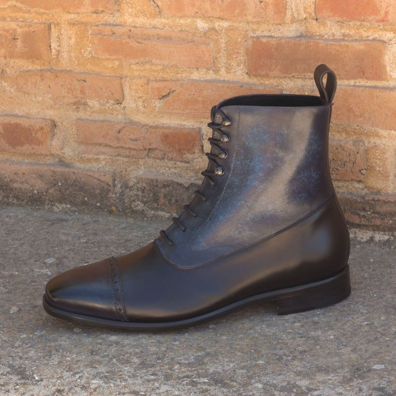 Custom Made Balmoral Boot in Italian Raw Crust Leather with a Denim Blue Marbled Hand Patina and Black Polished Calf Leather